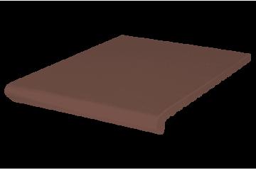 Ступень клинкерная коричневая Венецианская рифлёная, KingKlinker, Польша 1