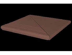 Ступень клинкерная коричневая угловая рифлёная, KingKlinker