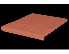 Ступень клинкерная красная Венецианская рифлёная, KingKlinker, Польша